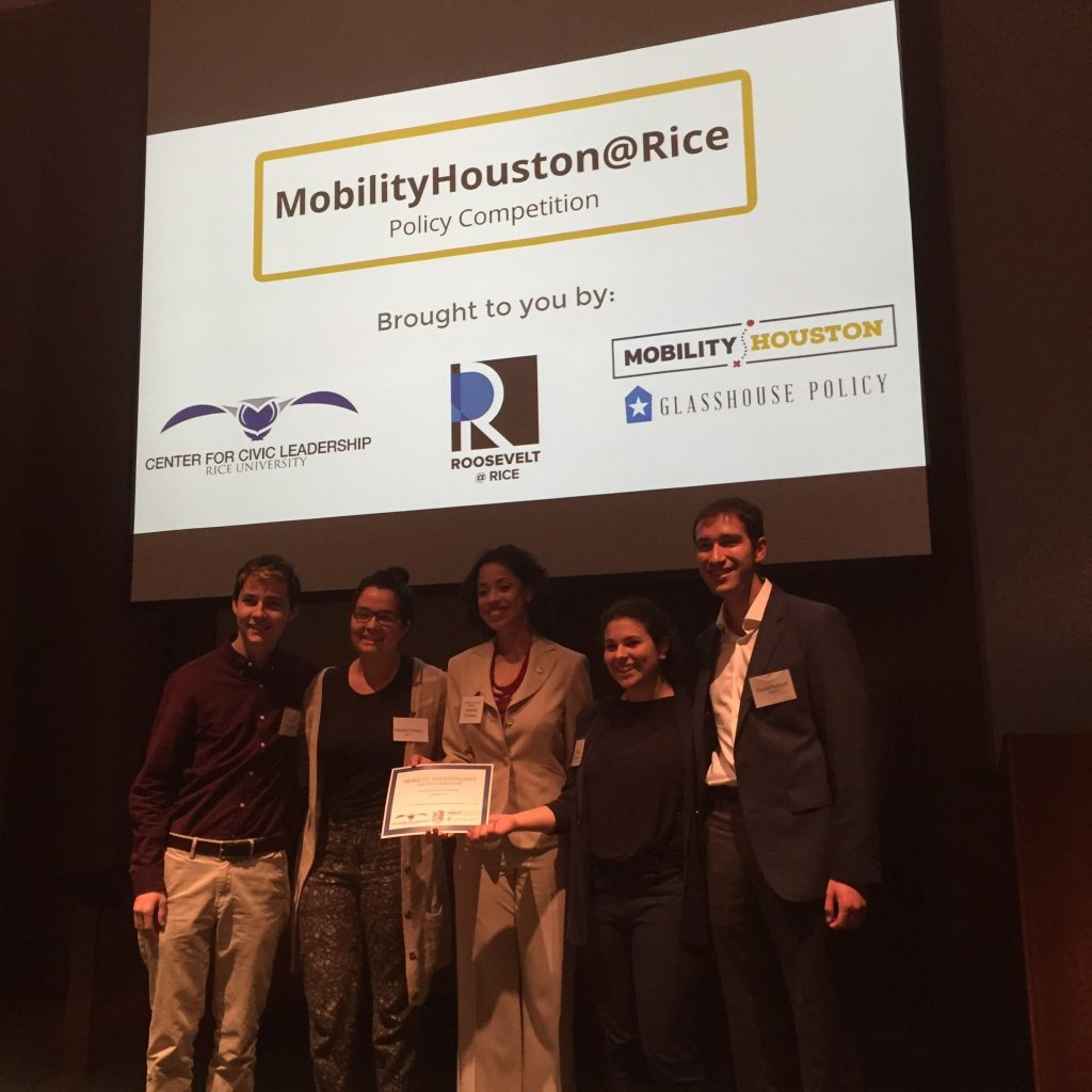 Winners of MobilityHouston@Rice with Houston City Councilmember Amanda Edwards
