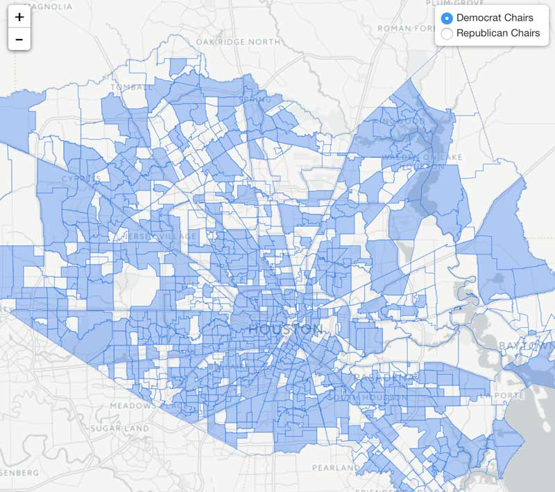 Map 77079.Map Of Harris County Precinct Chairs Republican Democratic