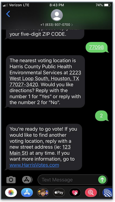 screenshot of harris votes textbot poll finder