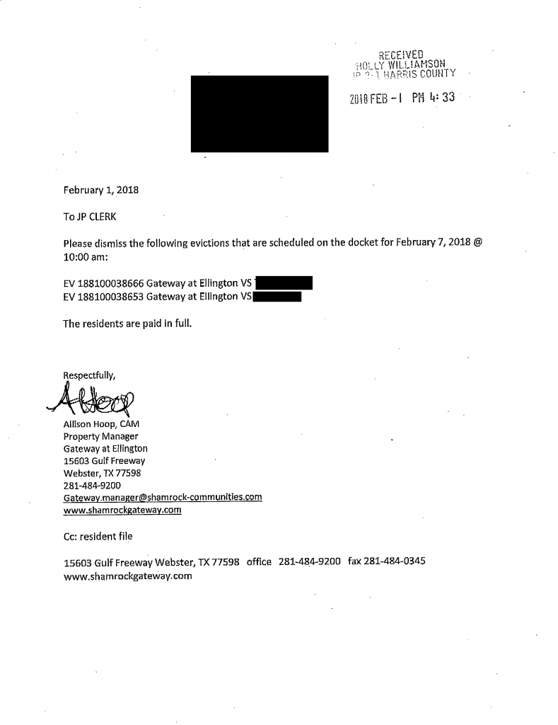 redacted image from court filings showing tenants paid in full