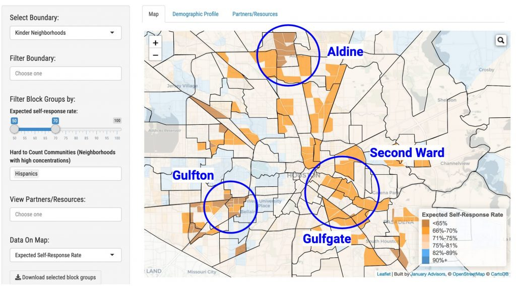 census 2020 mapping tool highlighting hispanic neighborhoods in houston by january advisors