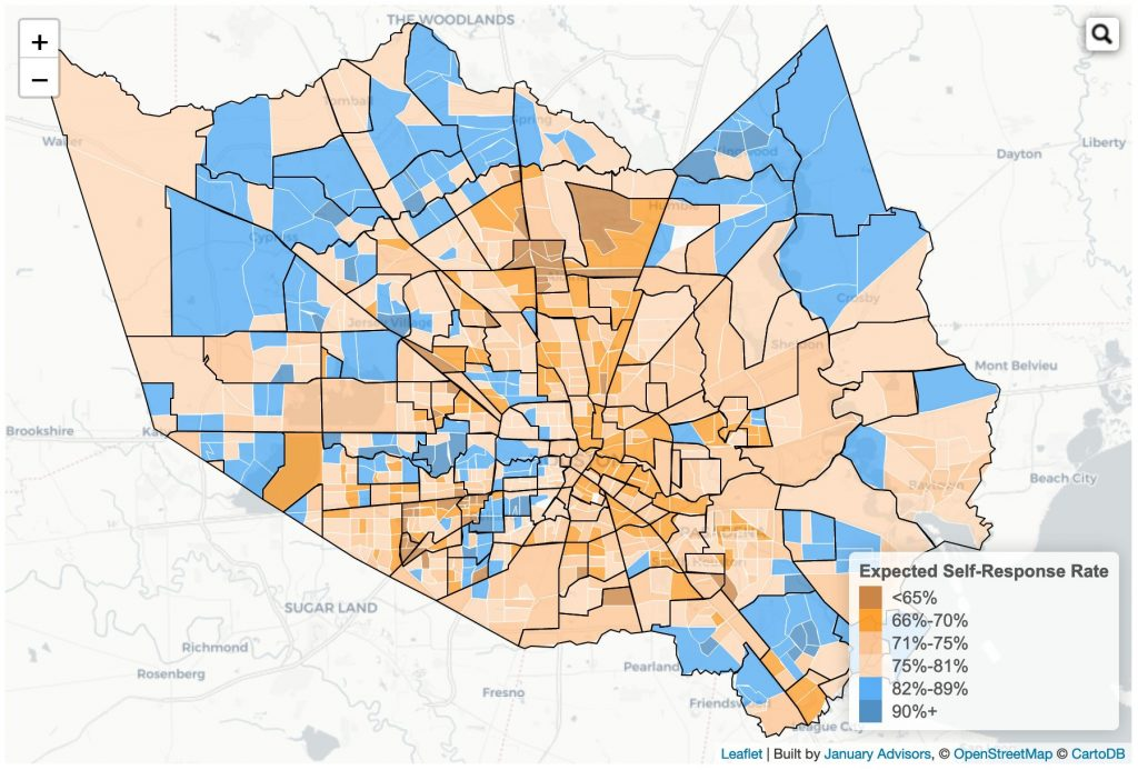 map of census 2020 expected self response rates in harris county