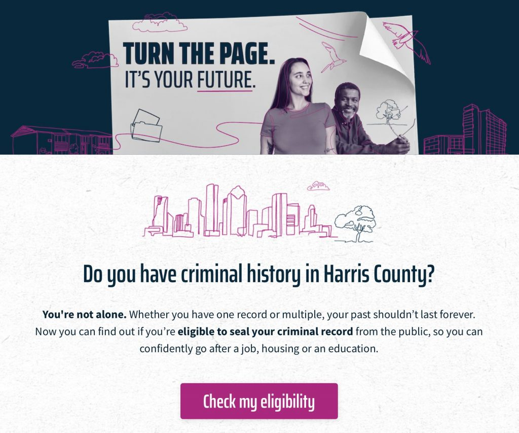 image of website to seal your record in harris county