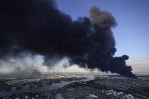 plume of smoke from the deer park fire - credit: AP